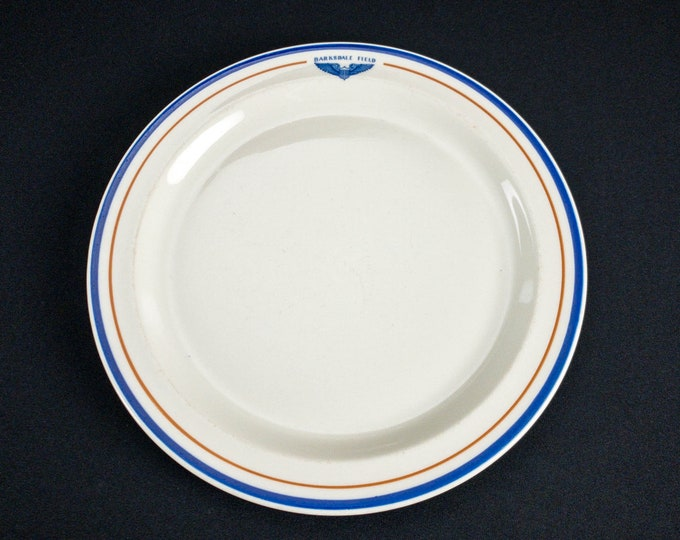 """1930s-40s WWII Era Army Air Corp Forces Barksdale Field Bossier City Louisiana 11"""" Plate Restaurant Ware by OPCo Syracuse China"""