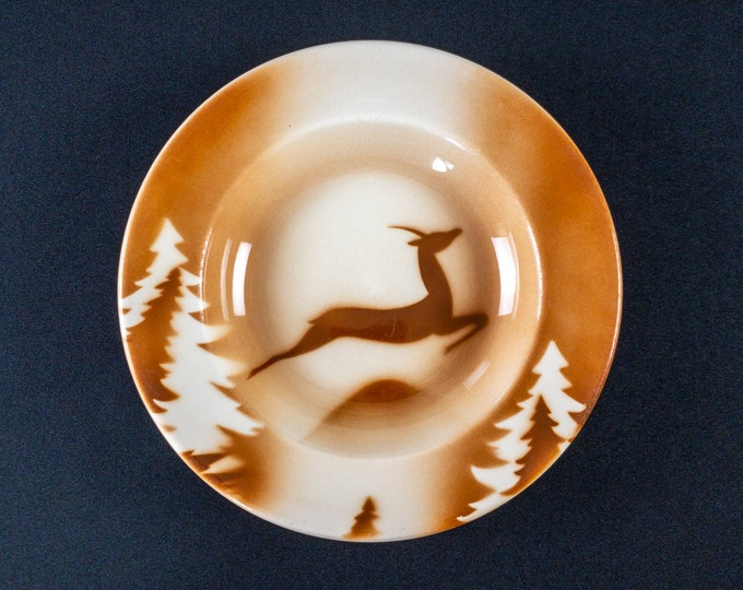 """HTF Brown Gazelle Stag Deer Leaping Pattern 8-7/8"""" Soup Plate Bowl Restaurant Ware By Syracuse China 1950s **AS IS**"""