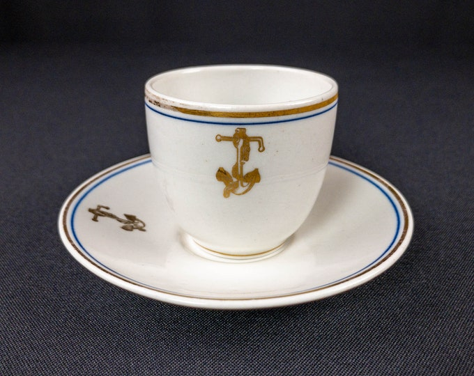Antique United States Navy Gold Fouled Anchor Pattern 1911 Shenango Demitasse Cup And 1908 Greenwood Saucer