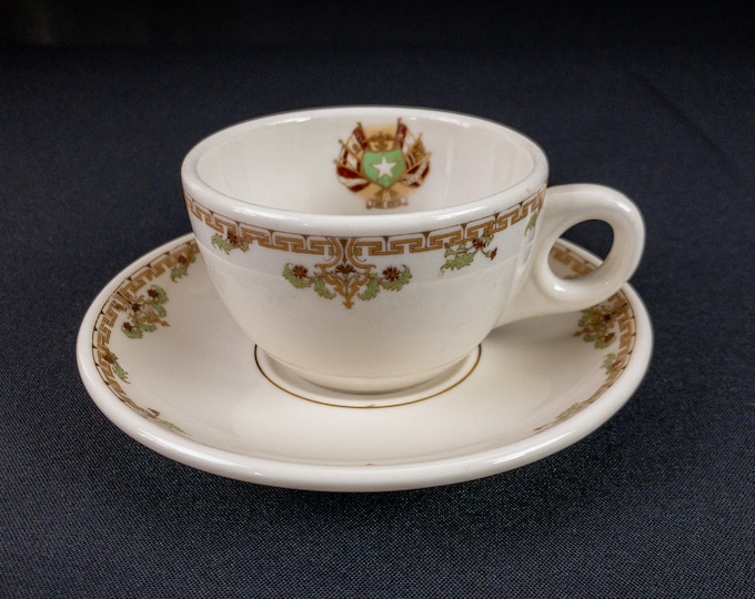 Rice Hotel Houston Texas Restaurant Ware Coffee Cup and Saucer by Lamberton Scammell