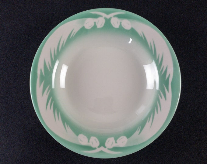 """Stencil Airbrush Coconut Pattern Pastel Green 9"""" Soup Plate Bowl Restaurant Ware By Jackson China 1946-65"""