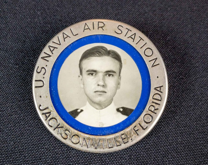 Vintage WWII Era Navy Officer ID Badge US Naval Air Station Jacksonville Florida By American Emblem Company Utica, New York