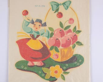 Vintage Meyercord Decal of Girl with Cherries