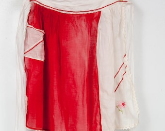 Vintage Red and White Half Apron with Flower Embroidery