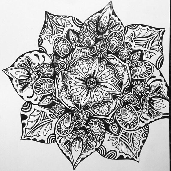 à Main Levée Mandala Lotus Noir Blanc Dessin La Géométrie Sacrée Art Mural Yoga Spirituelle Zentangle Complexe Floral Oeuvre Complexe Floral