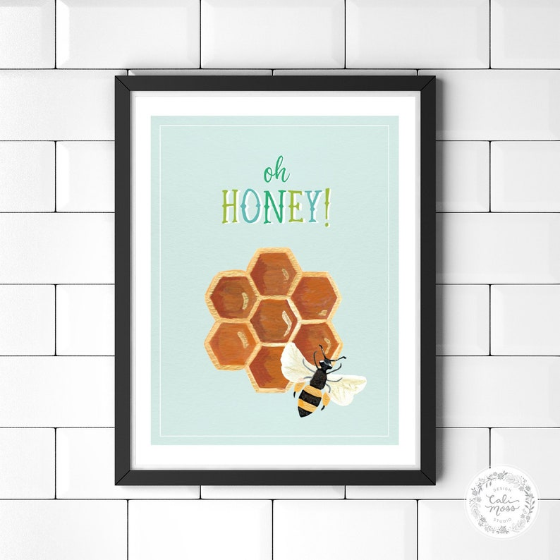 Kitchen Wall Art Bee Print Honey Decor