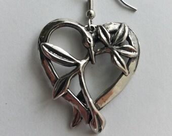 HEART FLORAL BIRD Earrings