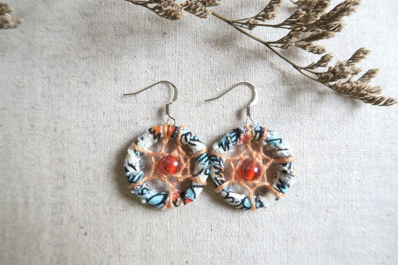 Floral Fabric earrings,dreamcatcher Earrings,personalised,Bridesmaid Jewelry,Bohemian,gift for her hippie earrings