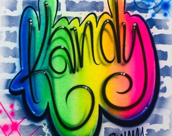 5cb73a9a Airbrush Name design on a brick wall, Graffiti T Shirt, Rainbow Fluourescent