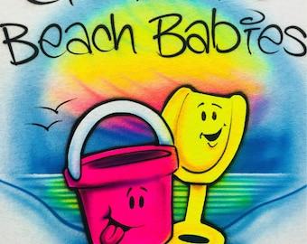 11aeaa64 Airbrush Beach Bucket and Pail , Beach Scene T shirt