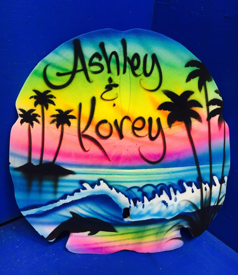 Airbrush Sand Dollar Waves and Beach, Airbrush Dolphin, Airbrush Sea Shell,  Painted Sand Dollar, comes with the names