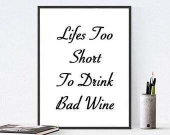 Wine Printable Art Quote Prints Decor Print Printables Posters Etsy