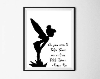 Peter Pan Quote Art Printable Wall Tinkerbell Print Tinker Bell Decal Walt Disney