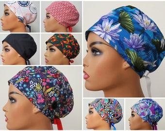 Scrub Caps Surgical Caps Lucky Shamrock Bouffant Style Scrub Cap for Women