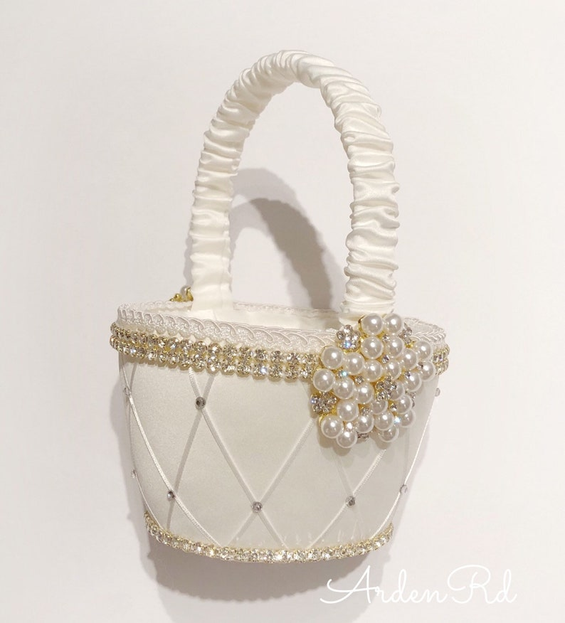 Flower Girl Basket with Crystal and Pearl Detail