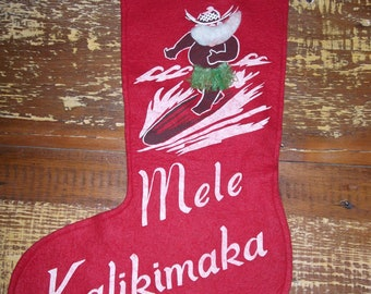 Mele Kalikimaka Vintage Hawaiian Felt Christmas Stocking