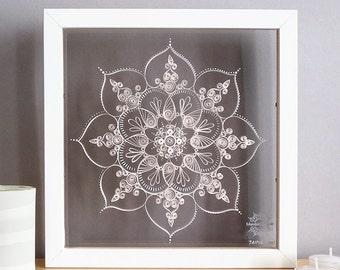 "MANDALA Kolam JAIPUR 25cm/10""- white paper Quilling, double sided glass shadowbox"