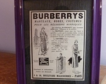 "Advertising old ""Burberrys"", decorative frame"