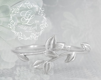 Sterling silver ring, leaves ring, art ring,  silver ring, leaf, design, leaves, floral, plants, nature, free shipping