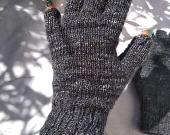 Ladies' Hand Knitted Fingerless Gloves - Grey