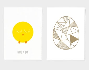 Postcards for Easter - Chick and Golden Egg - East, Egg, Chick, Yellow, Recycled Paper, Gold, Illustrated
