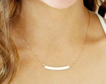 Gold Bar Necklace, Dainty Curved Bar Necklace, Gold Skinny Bar Necklace, Name Plate Necklace, Gold Filled or Rose Gold Fill, Personalized