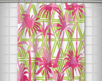 Palm Resort Shower Curtain Tropical Pink Tree Bath Decor Lilly Pulitzer Inspired