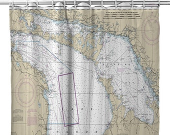Lake Huron Nautical Chart Shower Curtain Great Lakes Map Decor