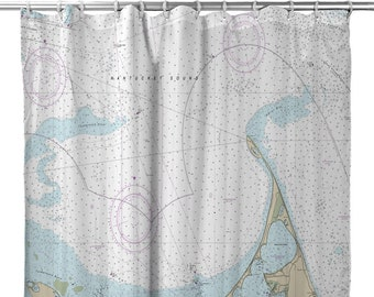 MA Nantucket Nautical Chart Shower Curtain Map