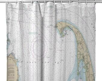 MA Cape Cod Nautical Chart Shower Curtain Map