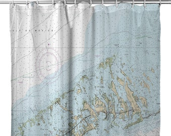 FL Lower Florida Keys Key West To Little Pine Nautical Chart Shower Curtain Map Decor