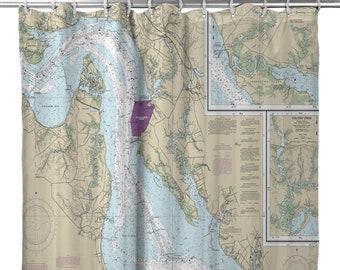 VA James River Newport News To Jamestown Island Nautical Chart Shower Curtain Map Decor