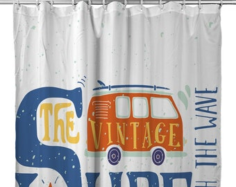 Vintage Surf Van Shower Curtain Surfing Beach Surfer Bath Decor