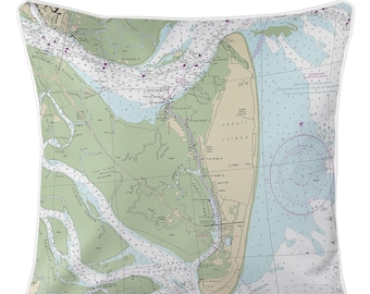 Jekyll Island, GA Nautical Chart Pillow / Made to Order