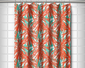 Palm Springs Coral Shower Curtain Tropical Floral