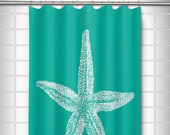 Vintage Starfish Shower Curtain Nautical Beach Bath Decor Ocean