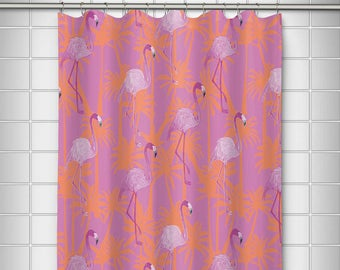 Pink Flamingos Shower Curtain Tropical Flamingo Bath Decor Lilly Pulitzer Inspired
