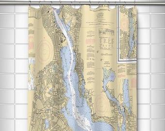 RI Providence River Nautical Chart Shower Curtain Map