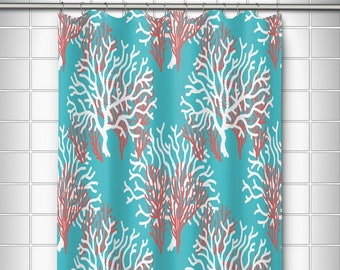 Nassau Coral Beach Shower Curtain Coastal Themed Sea Fan