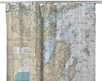 MA Marblehead Salem Nautical Chart Shower Curtain Map