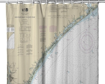 NC New River Inlet To Cape Fear Nautical Chart Shower Curtain Map