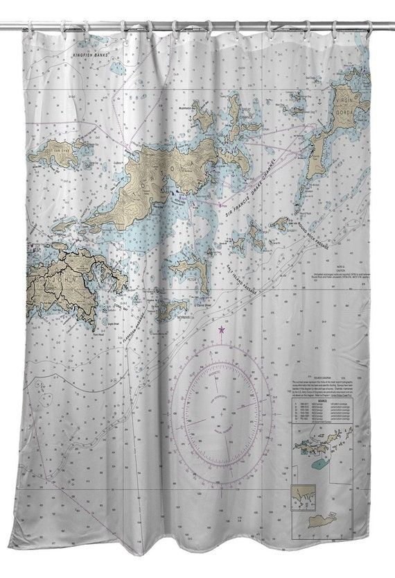 VI British Virgin Islands Nautical Chart Shower Curtain
