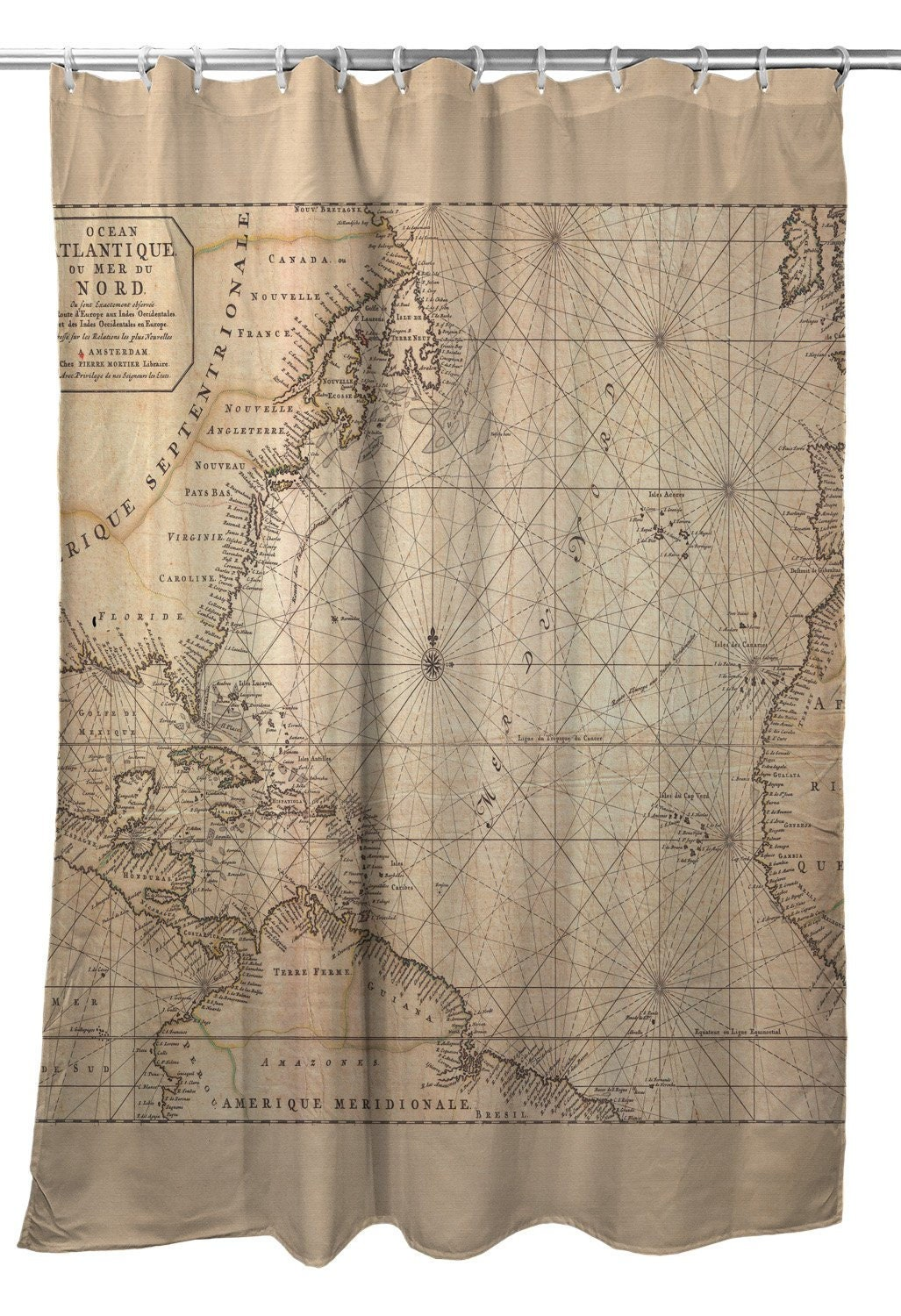 Old World Nautical Chart Shower Curtain Map