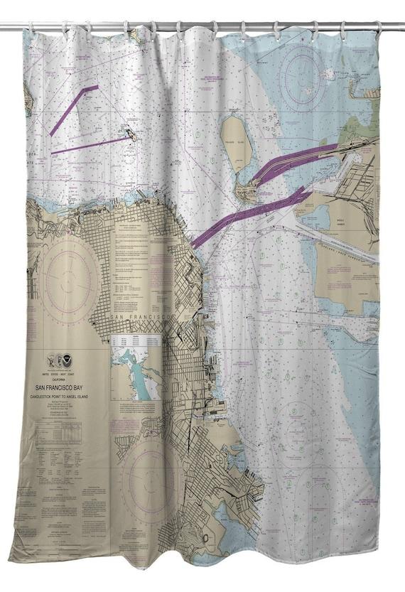 CA San Francisco Nautical Chart Shower Curtain Map