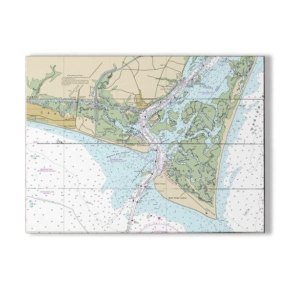 Nc Oak Island Southport Bald Head Island Nc Nautical Chart Etsy