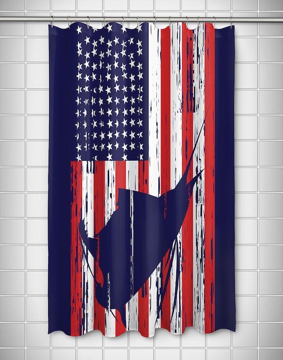 Sailfish Americana Shower Curtain Patriotic