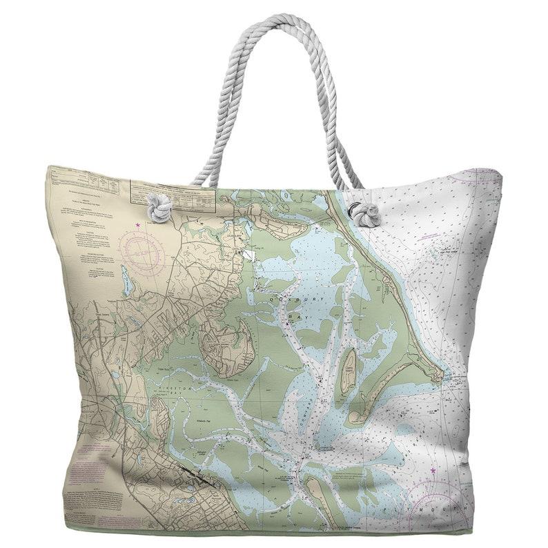 MA Nautical Chart Tote Bag Duxbury Bay MA Kingston Bay