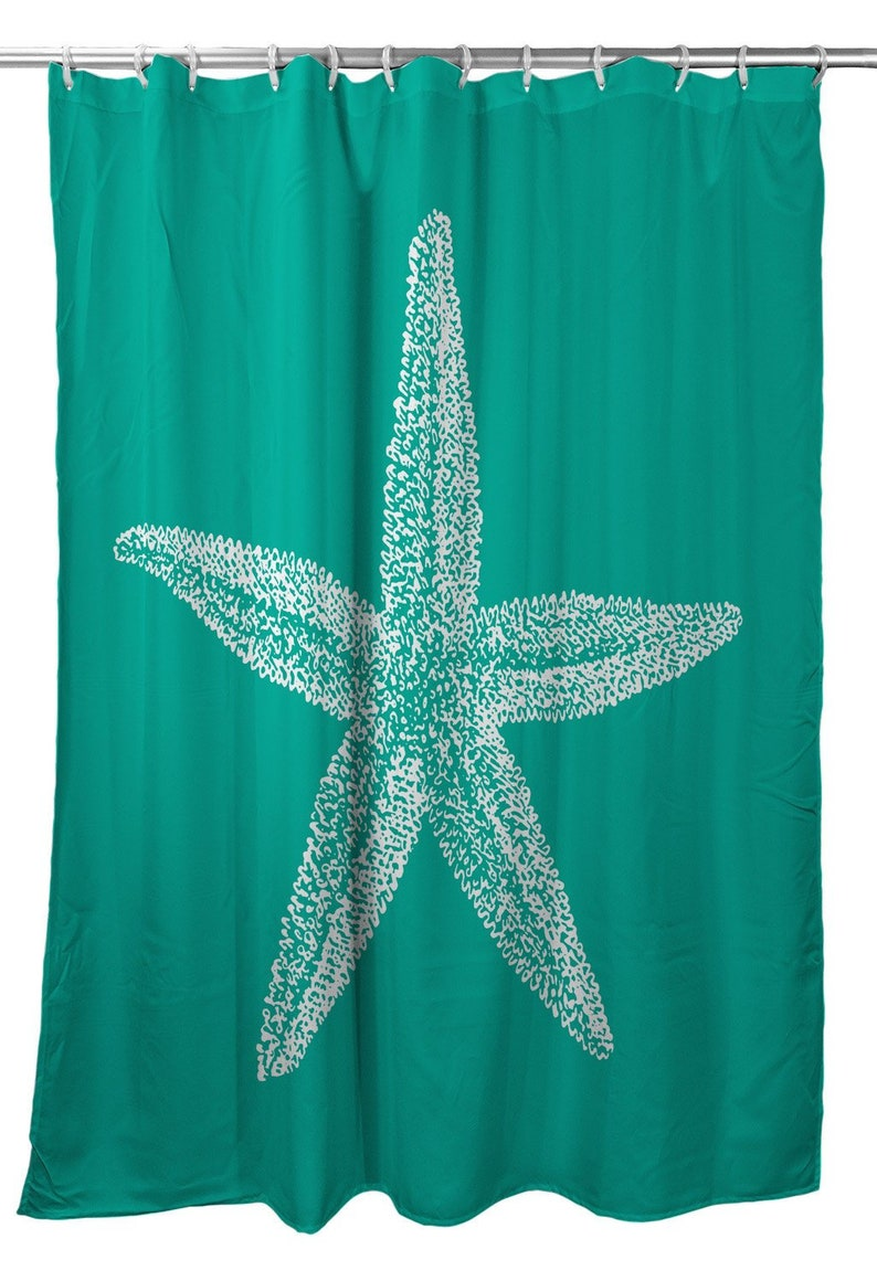 Vintage Starfish Shower Curtain Nautical Shower Curtain Beach Shower Curtain Starfish Bath Decor Ocean Bath Decor
