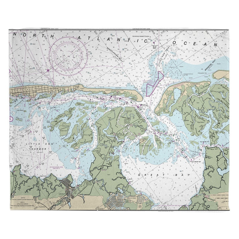 Great Bay NJ: Little Egg Inlet NJ Nautical Chart Throw Blanket  Select Sherpa or Fleece Little Egg Harbor