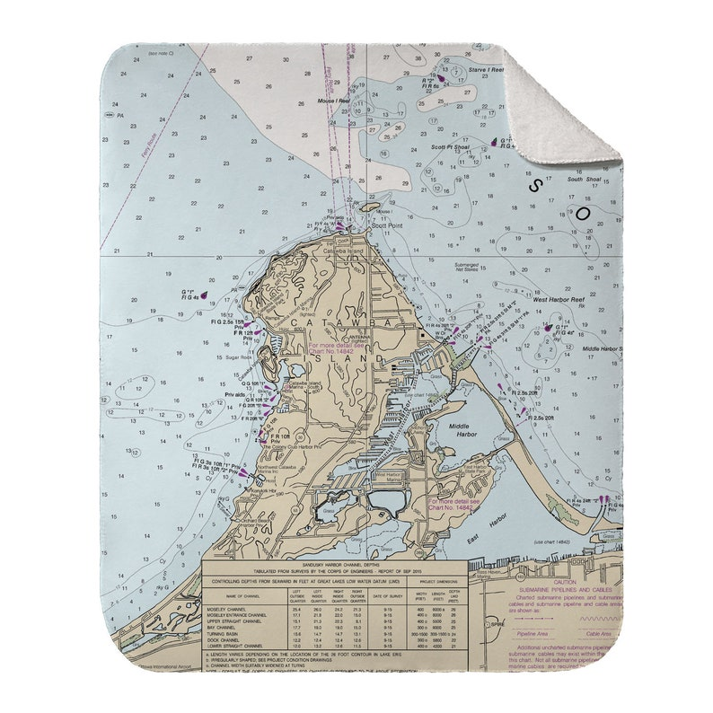OH Catawba Island OH Nautical Chart Throw Blanket  Select Sherpa or Fleece